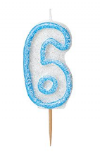 Number Six Glitz Birthday Cake Candle